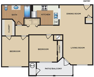 Two Bedroom / One Bath - 950 Sq. Ft.*